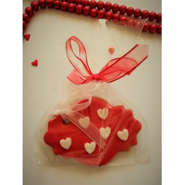 Cookies with little hearts and ribbon