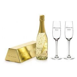 Champagne with golden pieces and 2 glasses