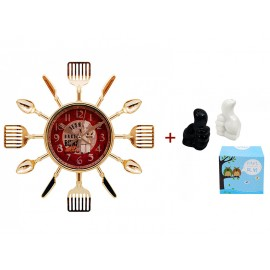 "Wall clock ""Kitchen"" and salt and pepper ""Like"""