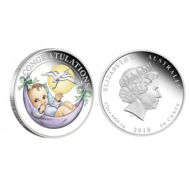 "Silver coin ""Happy Child"", partly colour plated"