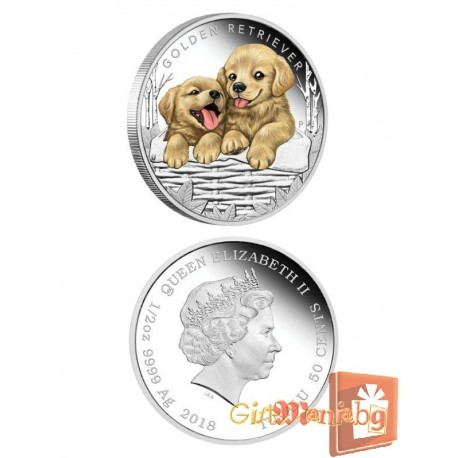 "Silver coin ""Puppies - Golden Retriever"""