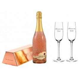 Golden champagne and 1 or 2 glasses
