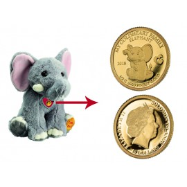 """Plush elephant """"Moya"""", with a gold coin"""