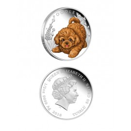 """Silver coin """"Puppies - Poodle"""""""