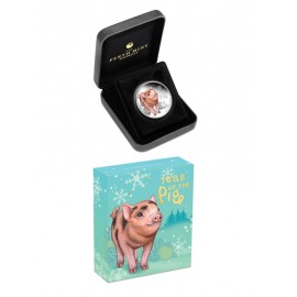 """Silver coin """"Tuvalu - Baby Pig"""""""