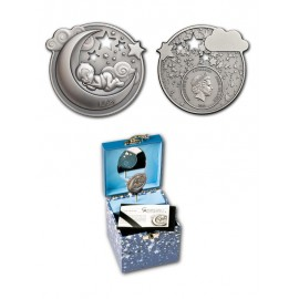 """Silver coin """"Dreaming Baby"""" whit music box"""