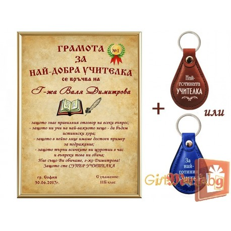 Certificate and keychain for best teacher