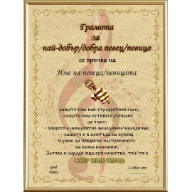 Certificate for best singer