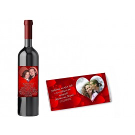 Wine and chocolate with personalized labels