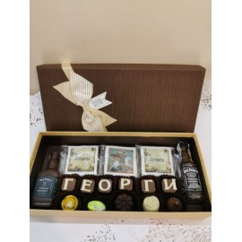 Chocolates for Gergiovden with bottle of whiskey