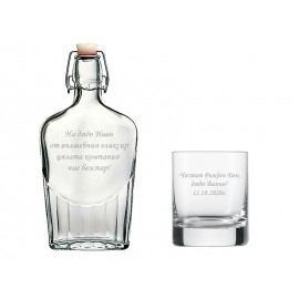 Set of bottle and glass with your text