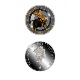 "Silver coin ""Year of the Ox, stars"""