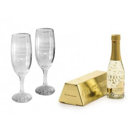 Golden champagne and 2 glasses for Anniversary
