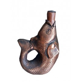 Ceramic bottle of wine fish